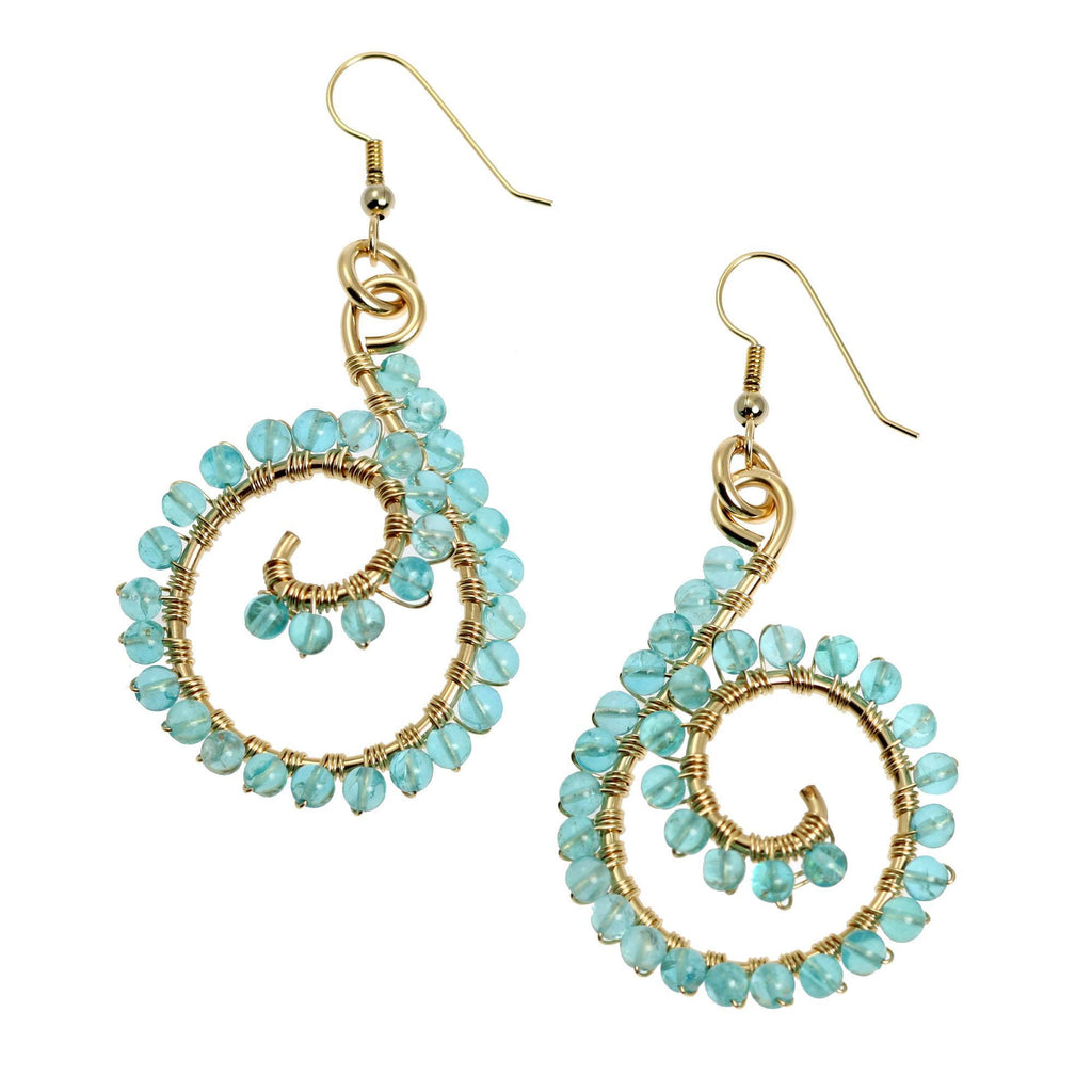 14k Gold-filled Scroll Wire Wrapped Drop Earrings with Apatite - johnsbrana - 1