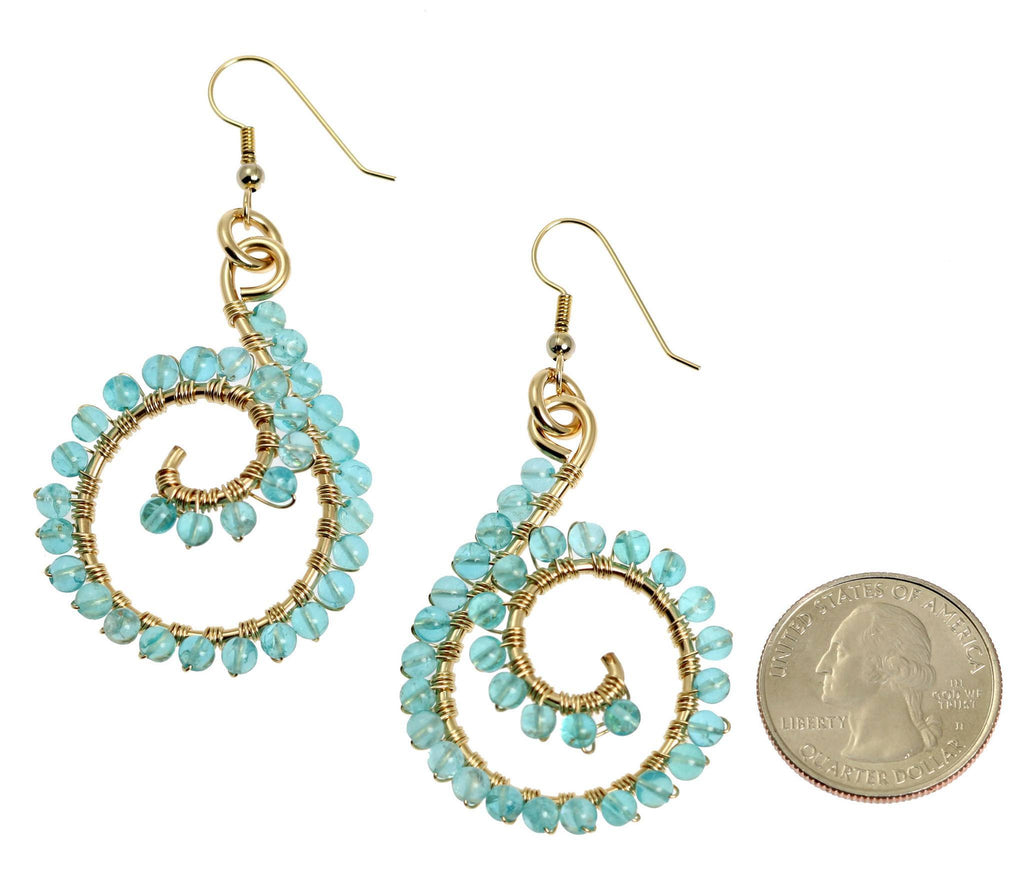14k Gold-filled Scroll Wire Wrapped Drop Earrings with Apatite - johnsbrana - 2