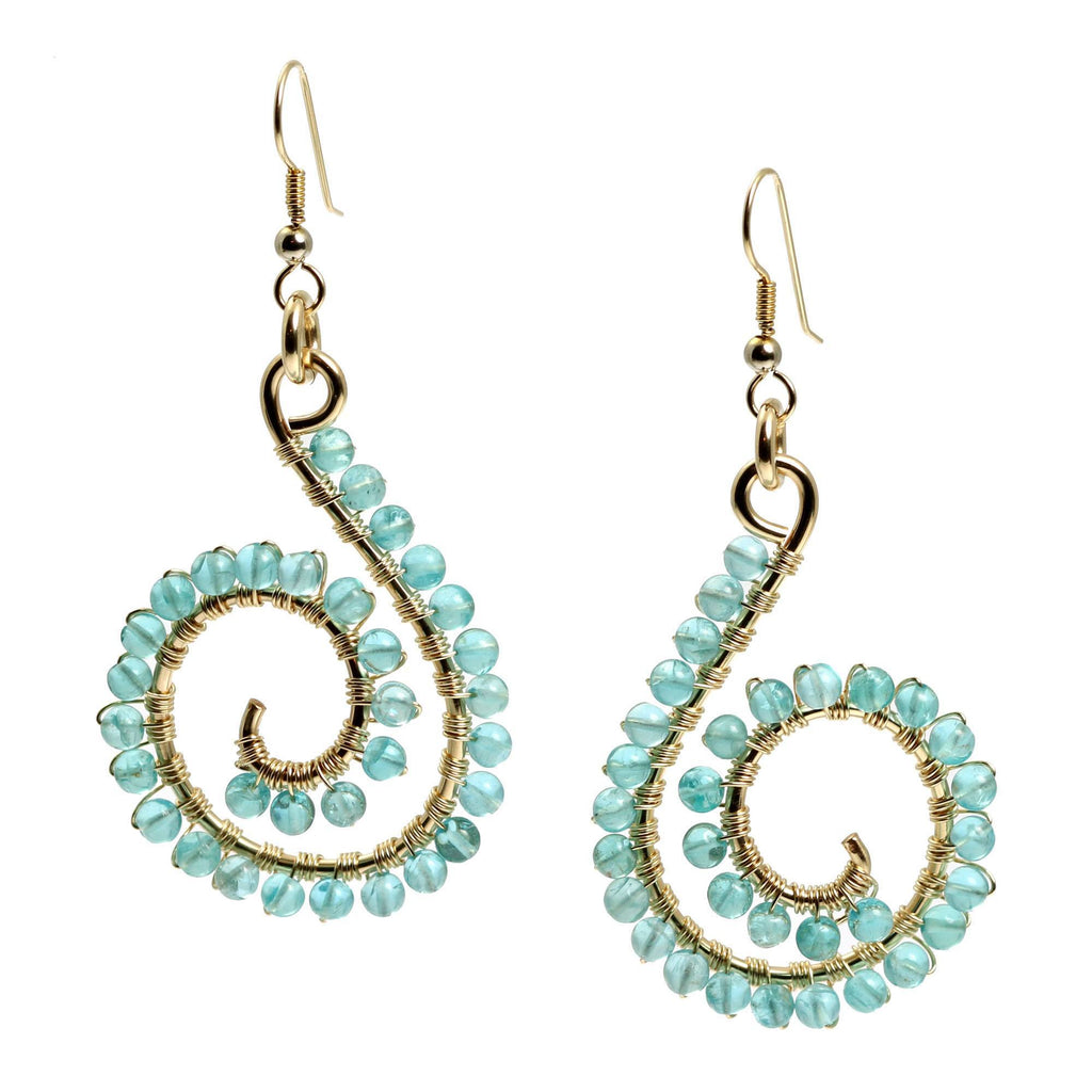 14k Gold-filled Scroll Wire Wrapped Drop Earrings with Apatite - johnsbrana - 3