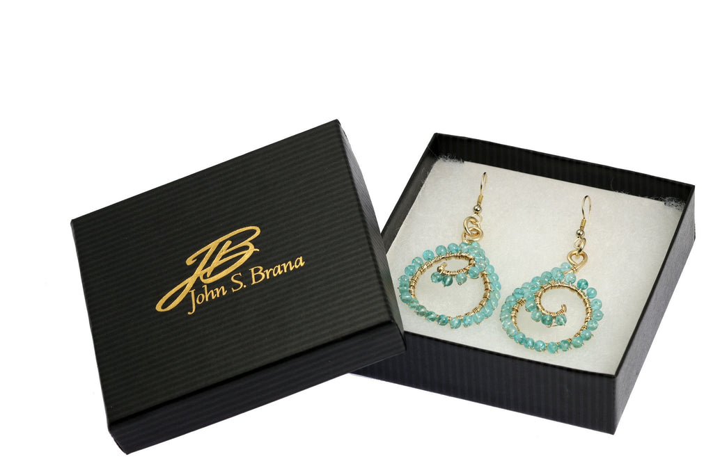 14k Gold-filled Scroll Wire Wrapped Drop Earrings with Apatite - johnsbrana - 4