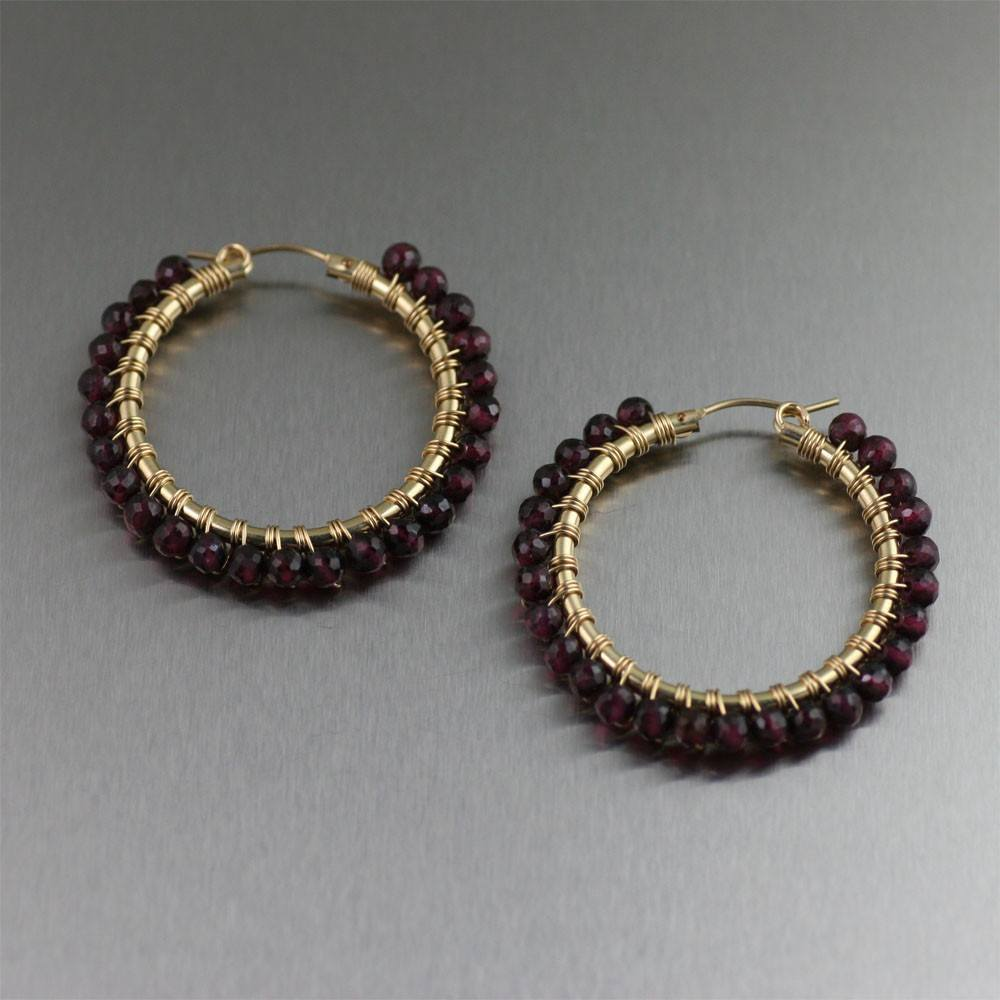 14K Gold-filled Wire Wrapped Faceted Garnet Hoop Earrings - johnsbrana - 1