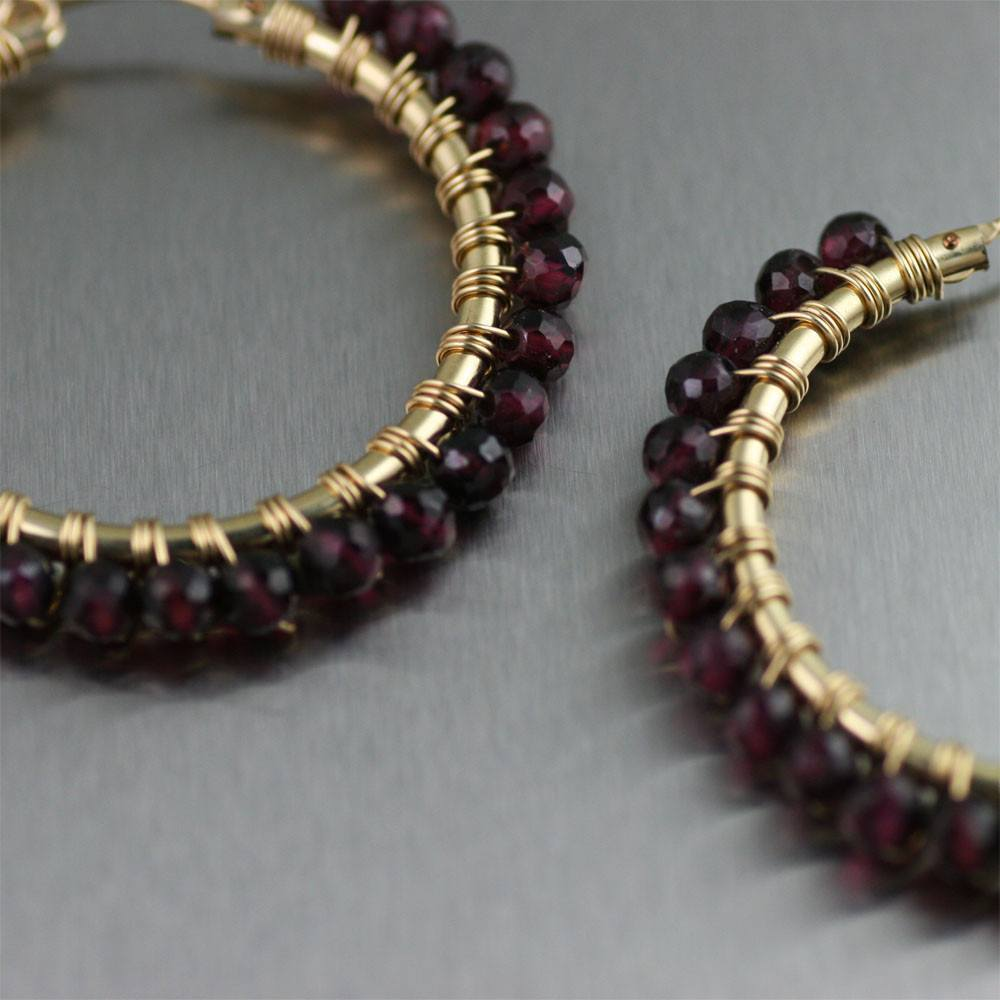 14K Gold-filled Wire Wrapped Faceted Garnet Hoop Earrings - johnsbrana - 2