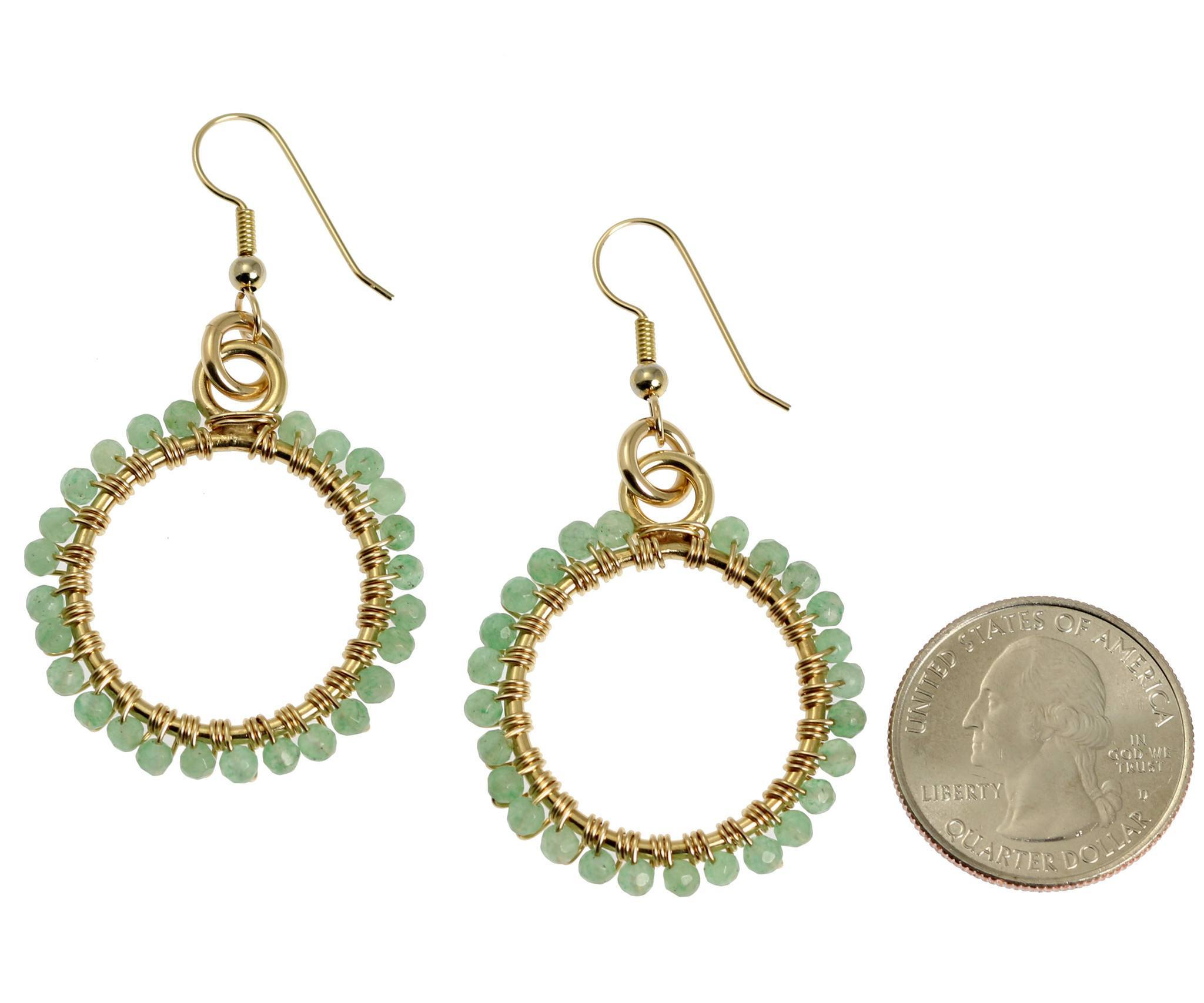 14K Gold-filled Wire Wrapped Hoop Earrings with Aquamarine Gemstones ...