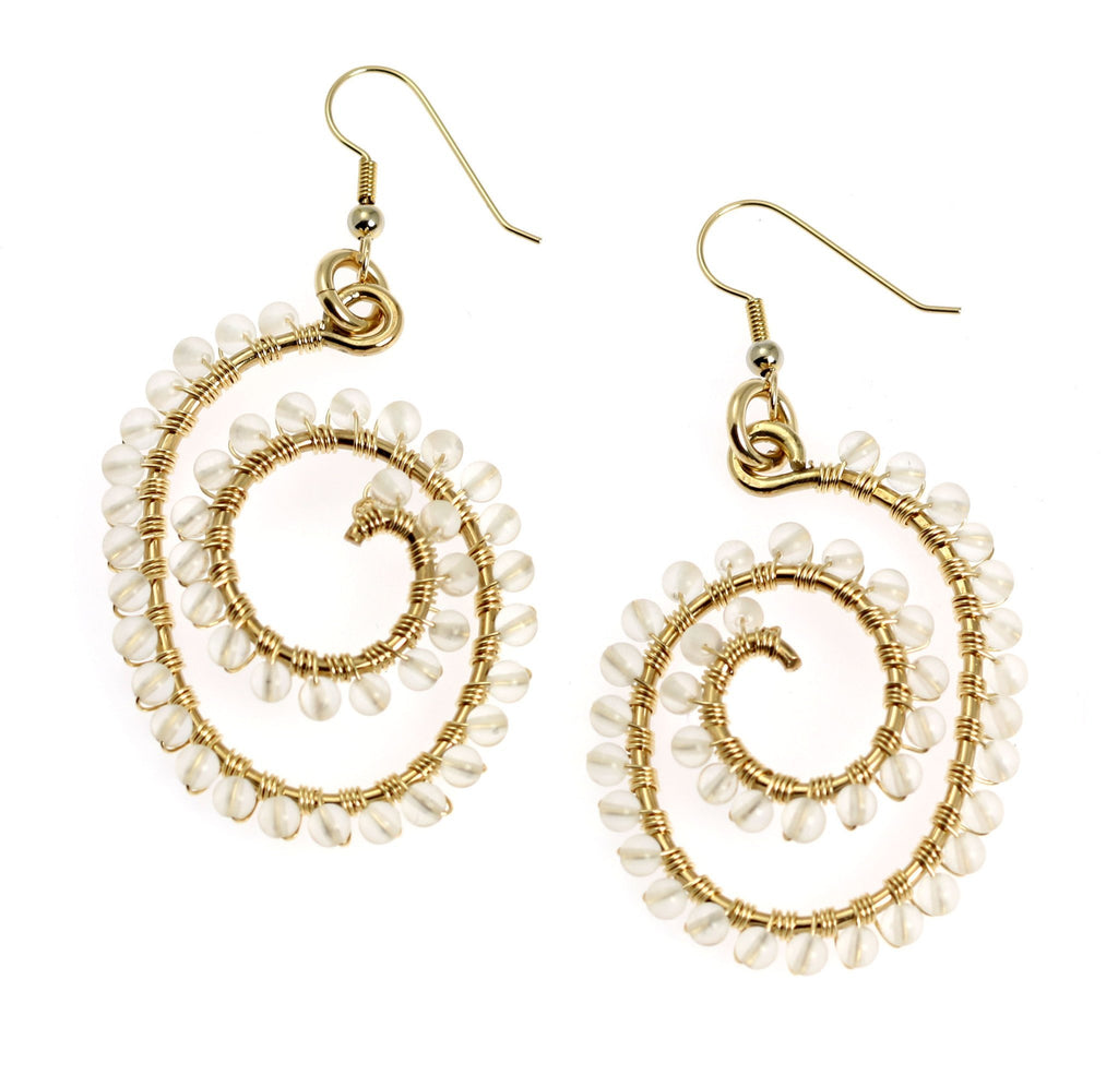 14K Gold-filled Wire Wrapped Spiral Earrings with Crystal Quartz Gemstones - johnsbrana - 1