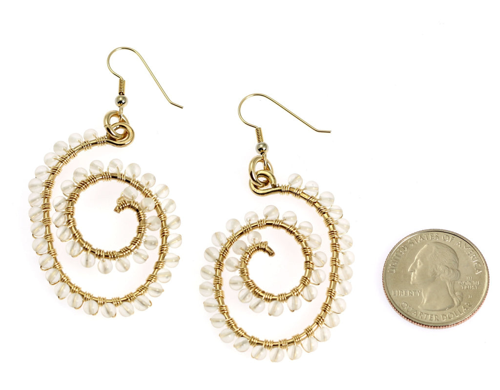 14K Gold-filled Wire Wrapped Spiral Earrings with Crystal Quartz Gemstones - johnsbrana - 2