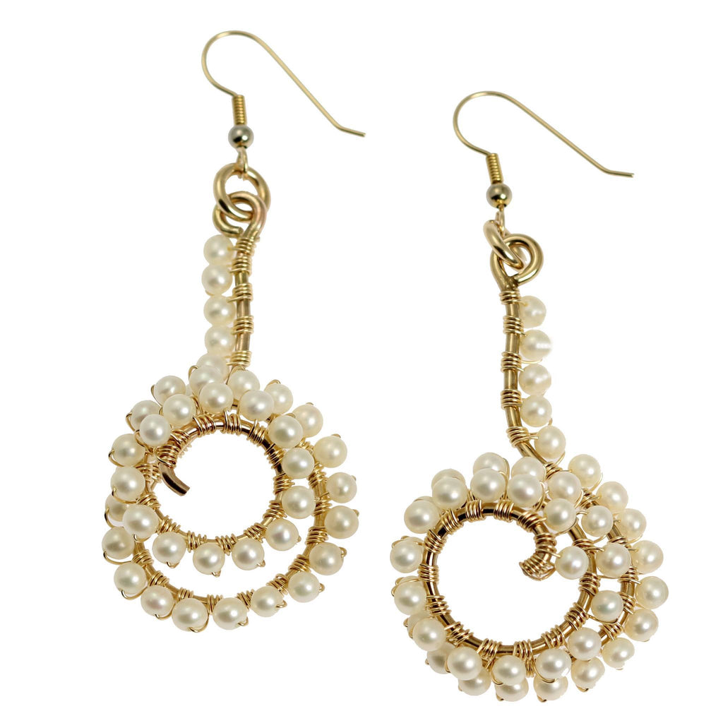 14K Gold-filled Wire Wrapped Spiral Earrings with White Freshwater Pearls - johnsbrana - 1