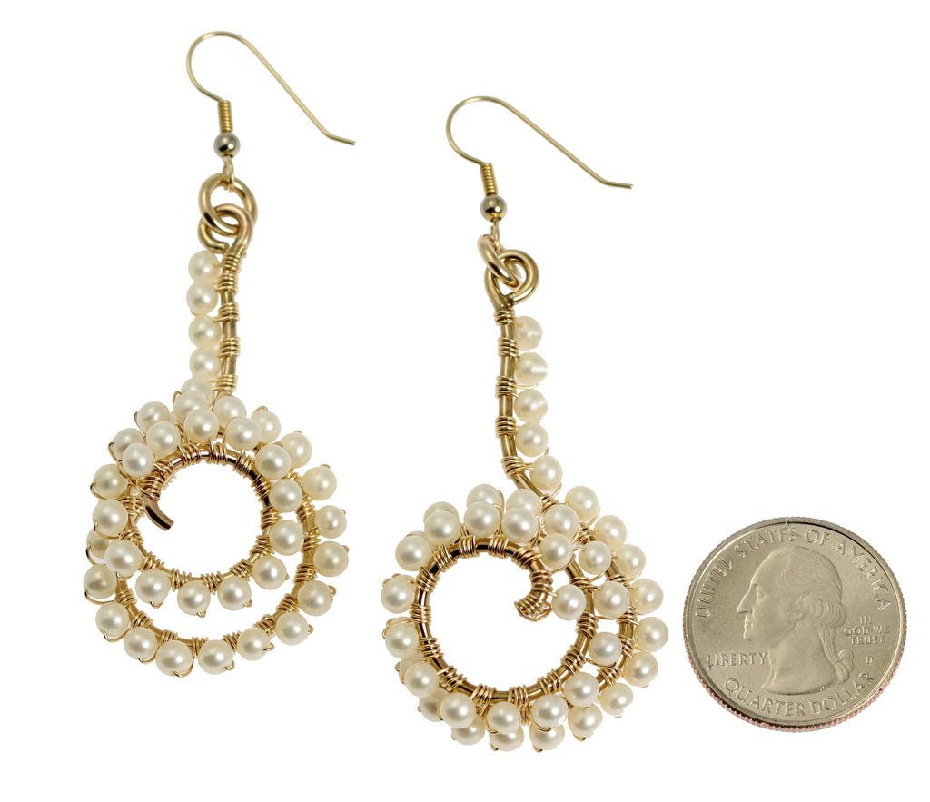14K Gold-filled Wire Wrapped Spiral Earrings with White Freshwater Pearls - johnsbrana - 2