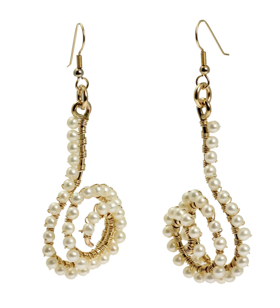 14K Gold-filled Wire Wrapped Spiral Earrings with White Freshwater Pearls - johnsbrana - 3