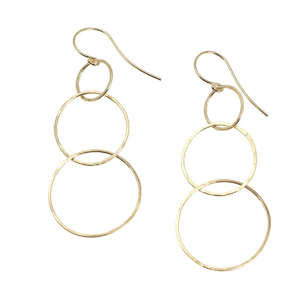 14K Gold Hammered Chandelier Earrings - johnsbrana - 1