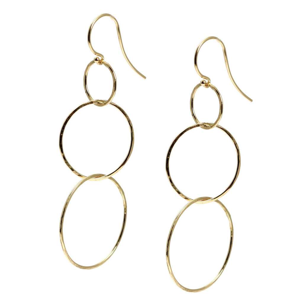 14K Gold Hammered Chandelier Earrings - johnsbrana - 3