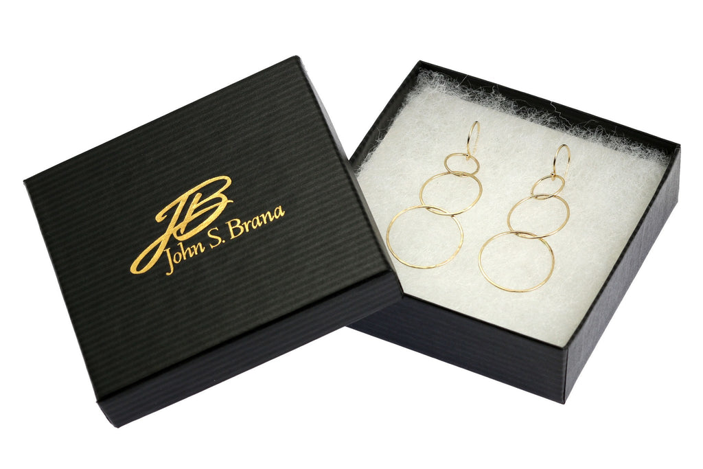 Earrings - 14K Gold Hammered Chandelier Earrings