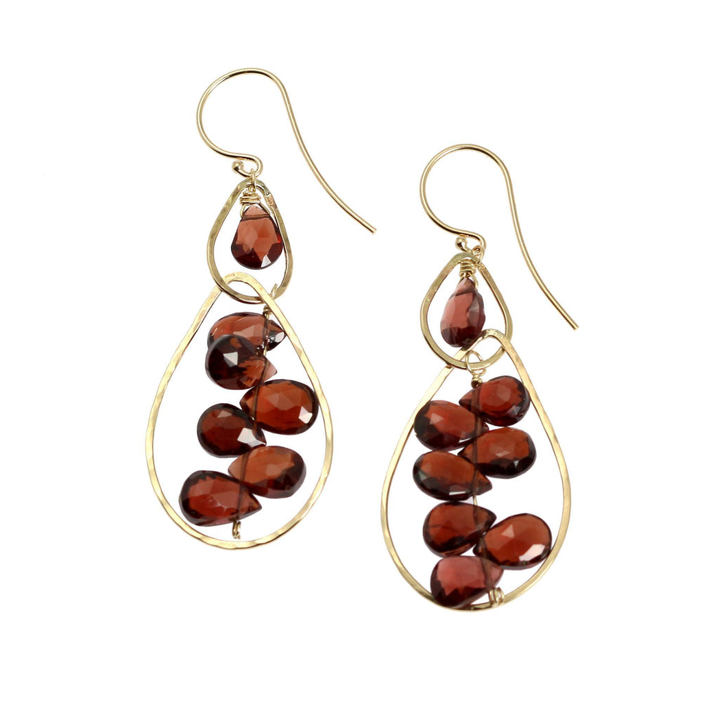 14K Gold Hammered Earrings with Garnets - johnsbrana - 1