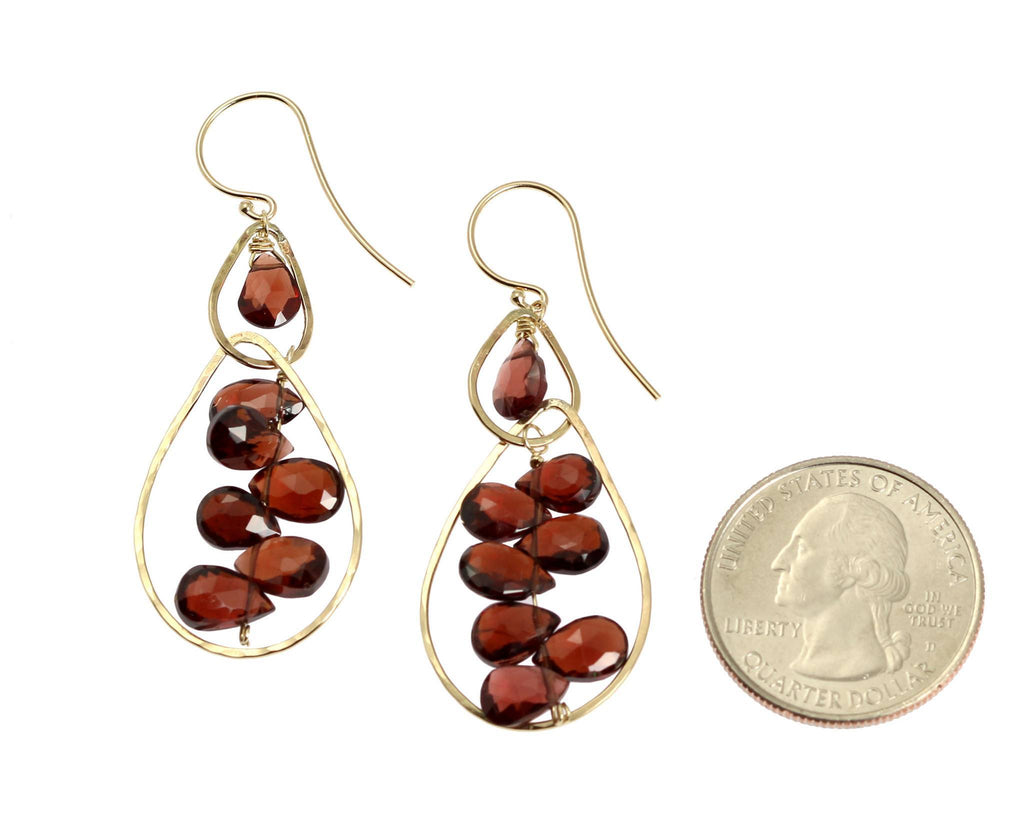 14K Gold Hammered Earrings with Garnets - johnsbrana - 2