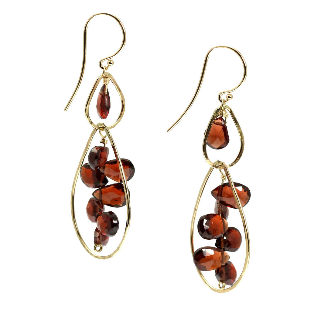 Earrings - 14K Gold Hammered Earrings With Garnets