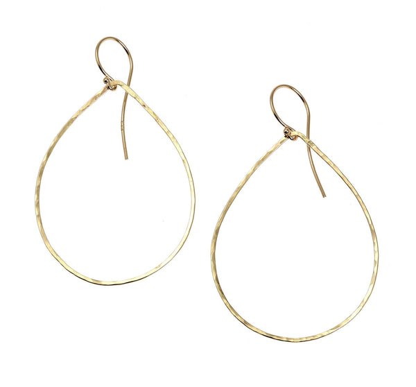 14K Gold Hammered Tear Drop Earrings - johnsbrana - 1