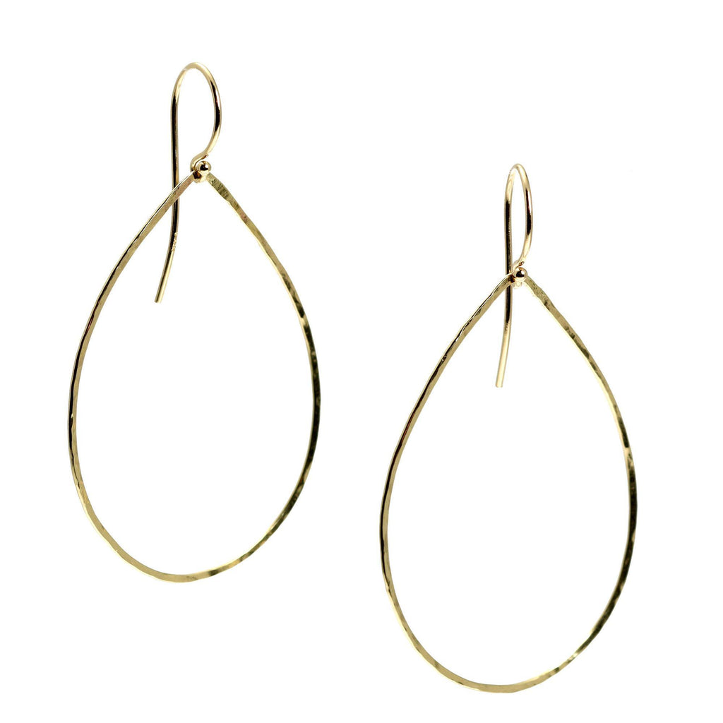 14K Gold Hammered Tear Drop Earrings - johnsbrana - 3