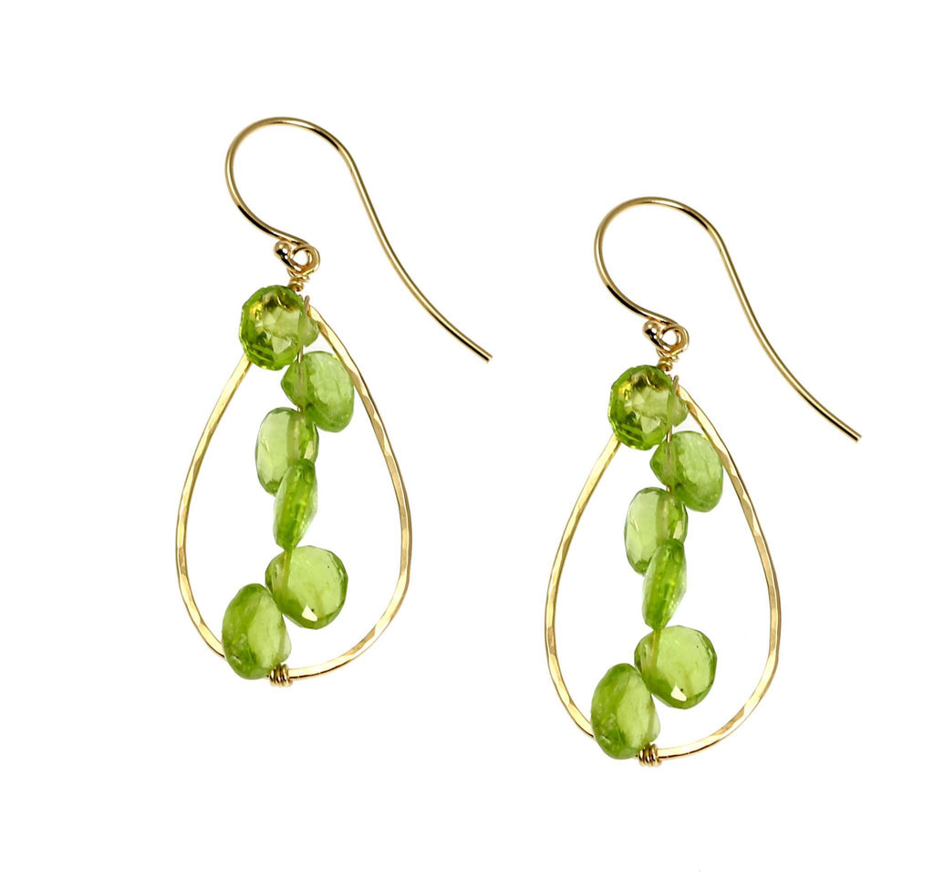 14K Gold Hammered Tear Drop Earrings with Peridot - johnsbrana - 1