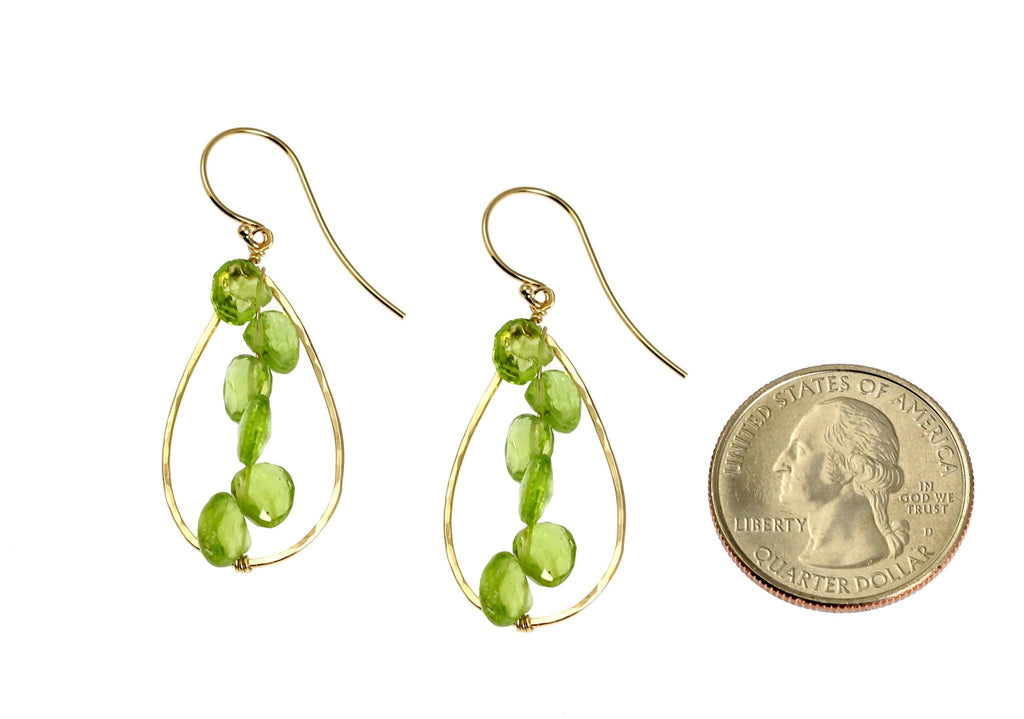 14K Gold Hammered Tear Drop Earrings with Peridot - johnsbrana - 2