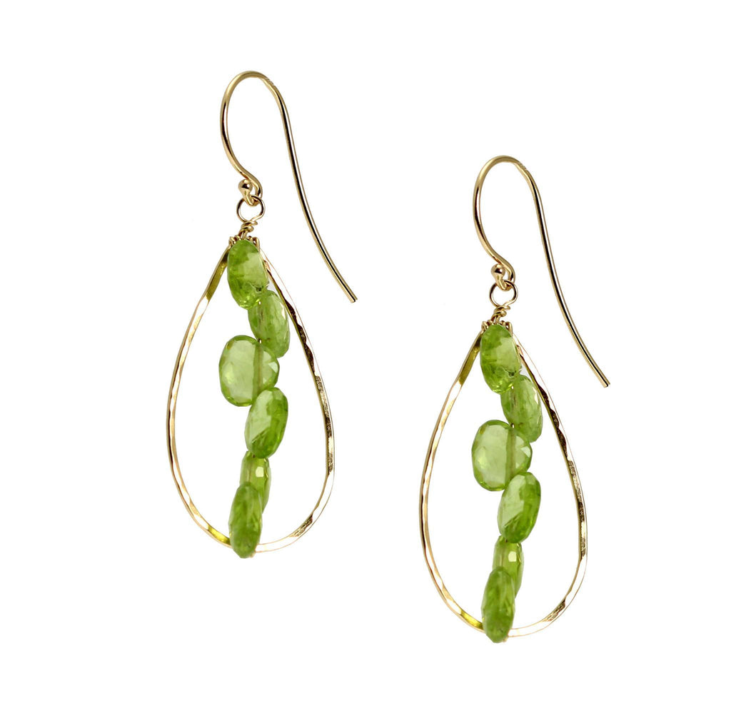 14K Gold Hammered Tear Drop Earrings with Peridot - johnsbrana - 3