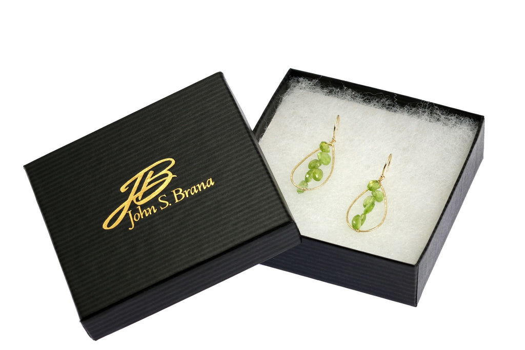 Earrings - 14K Gold Hammered Tear Drop Earrings With Peridot