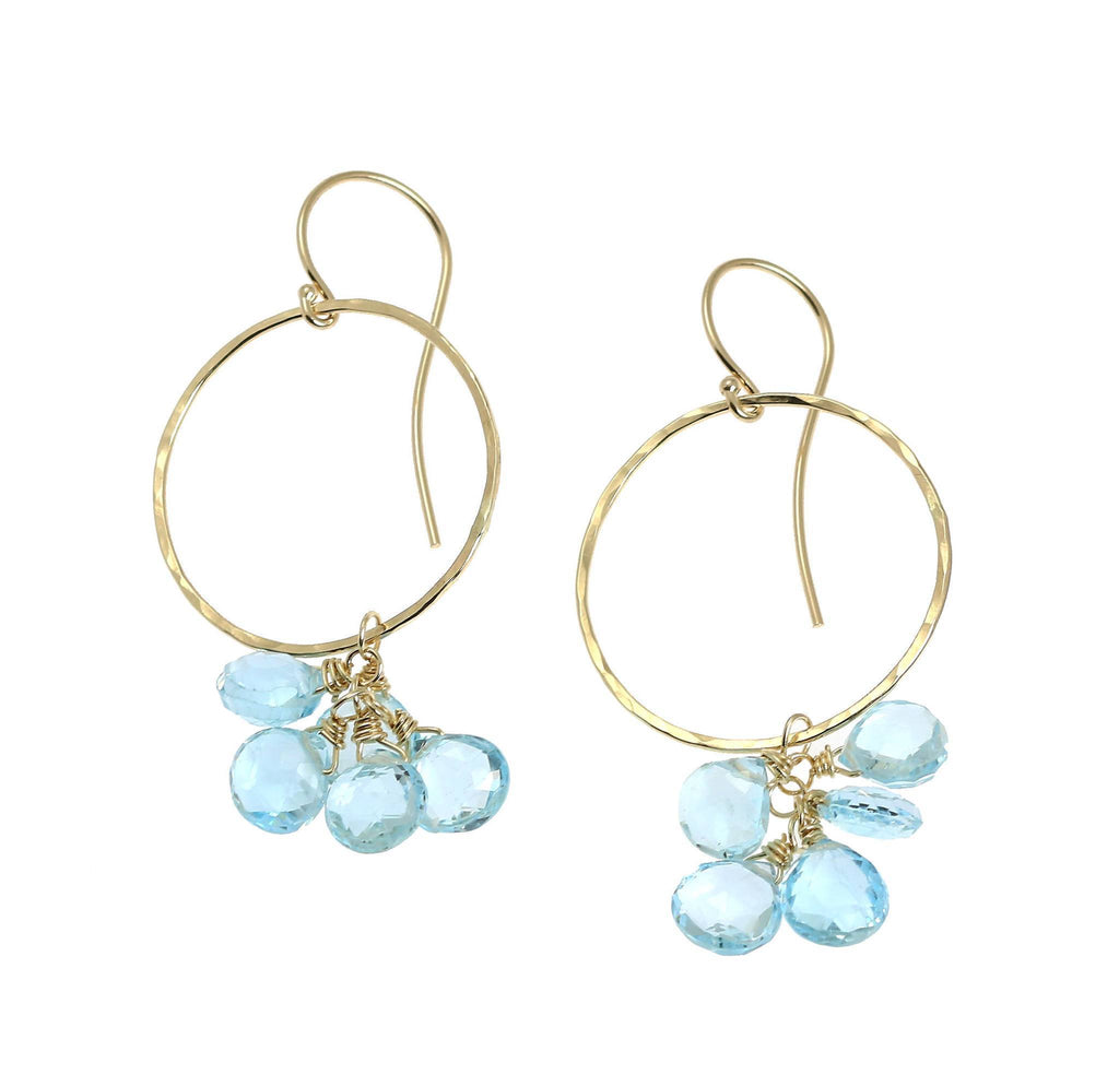 14K Hammered Gold Earrings with Blue Topaz - johnsbrana - 1