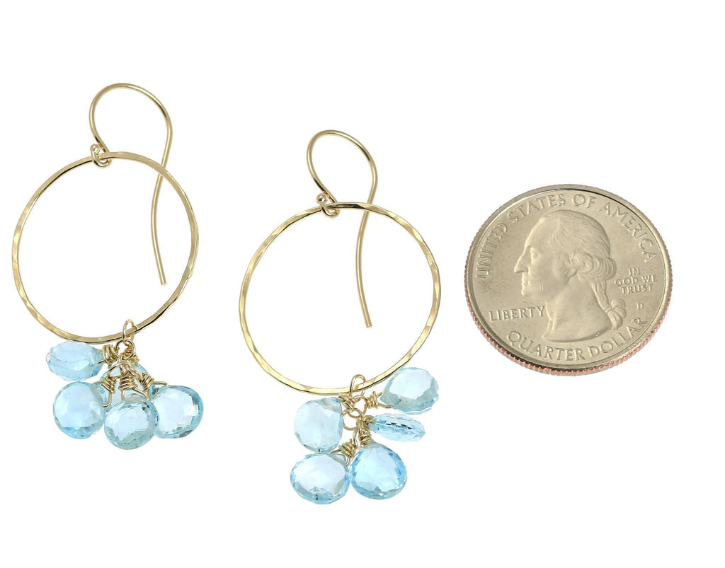 14K Hammered Gold Earrings with Blue Topaz - johnsbrana - 2