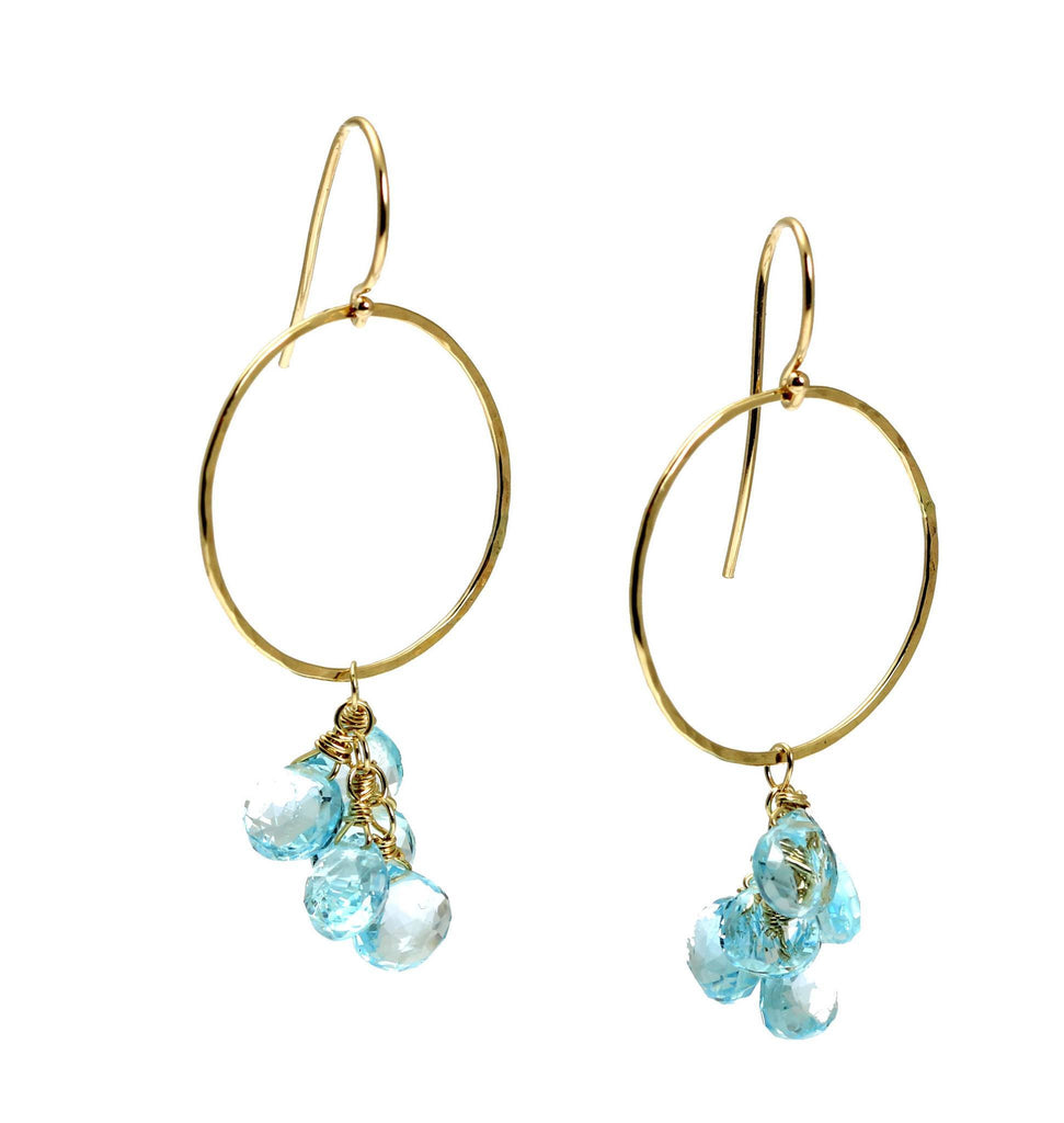 14K Hammered Gold Earrings with Blue Topaz - johnsbrana - 3
