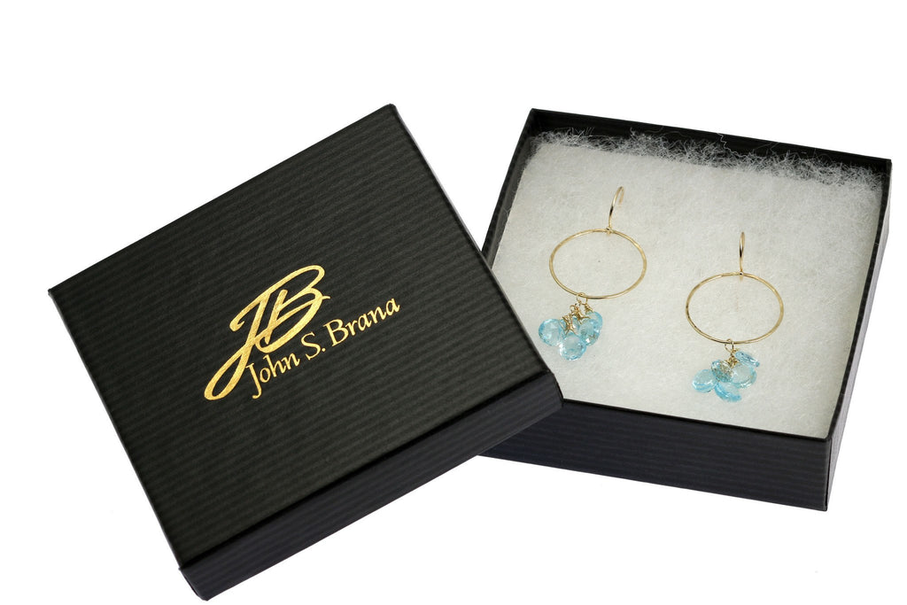 14K Hammered Gold Earrings with Blue Topaz - johnsbrana - 4