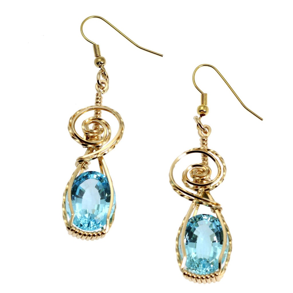 15 Ct Blue Topaz 14k Gold Filled Wire Wrapped Earrings