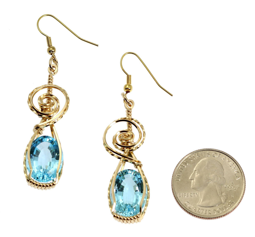 15 CT Blue Topaz 14K Gold-filled Wire Wrapped Earrings - johnsbrana - 2