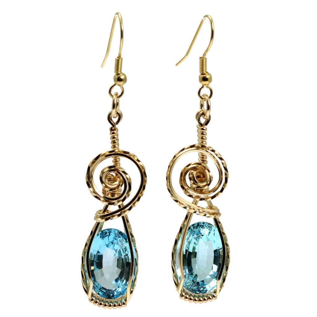 15 CT Blue Topaz 14K Gold-filled Wire Wrapped Earrings - johnsbrana - 3