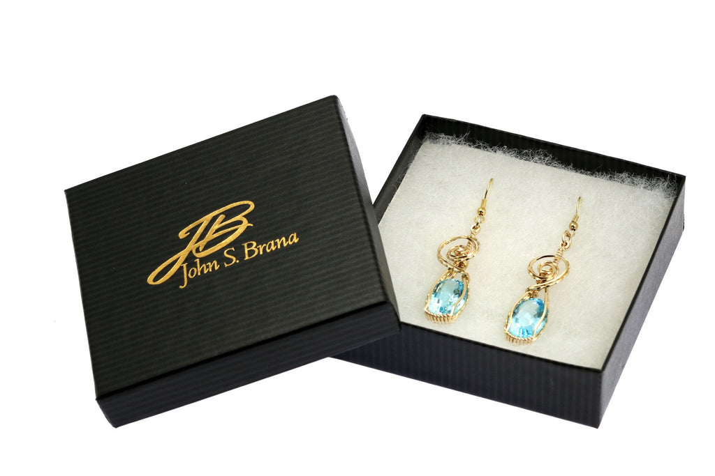 Earrings - 15 CT Blue Topaz 14K Gold-filled Wire Wrapped Earrings