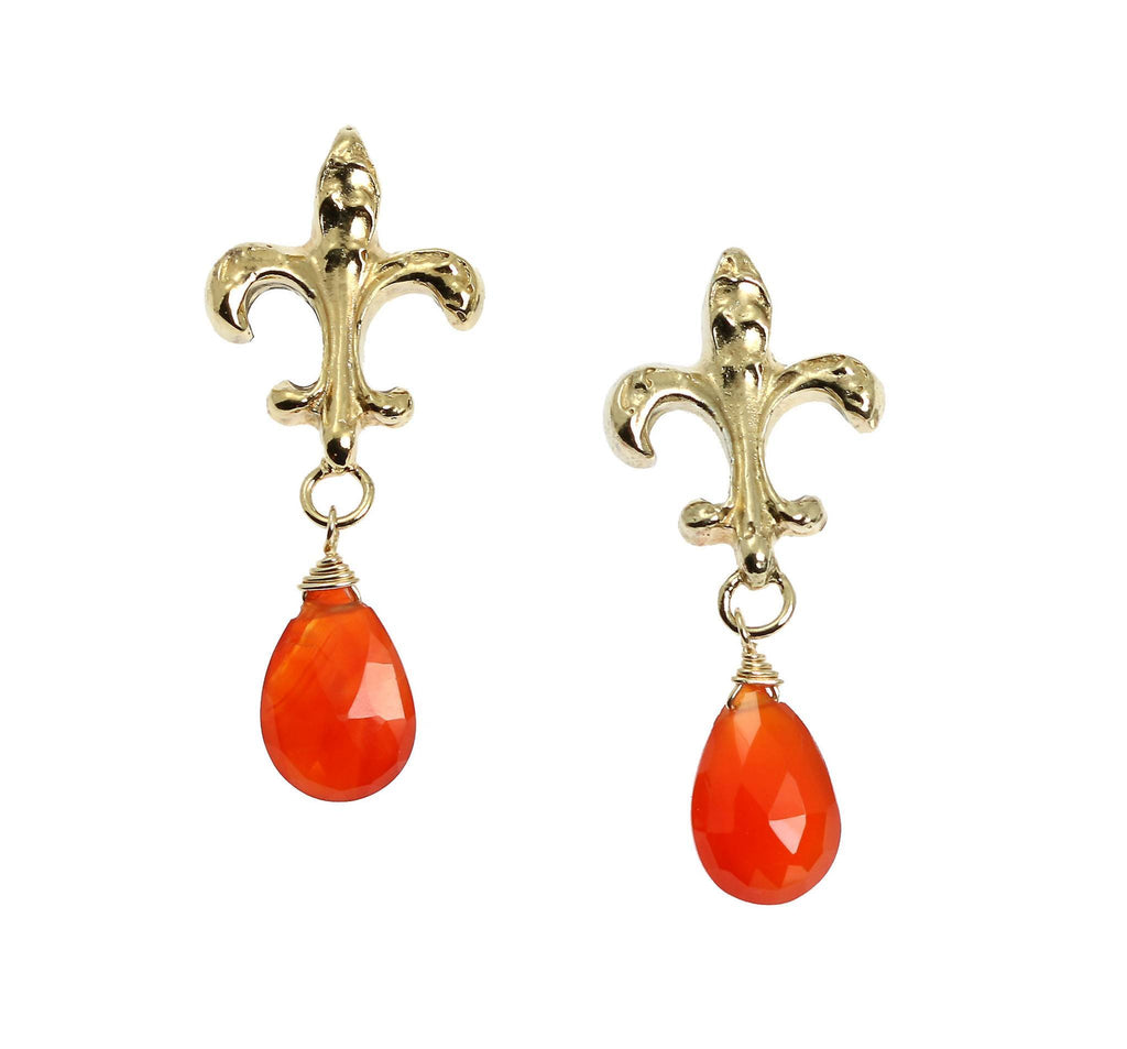 16 CT Carnelian Vermeil Fleur-de-lis Post Earrings - johnsbrana - 1