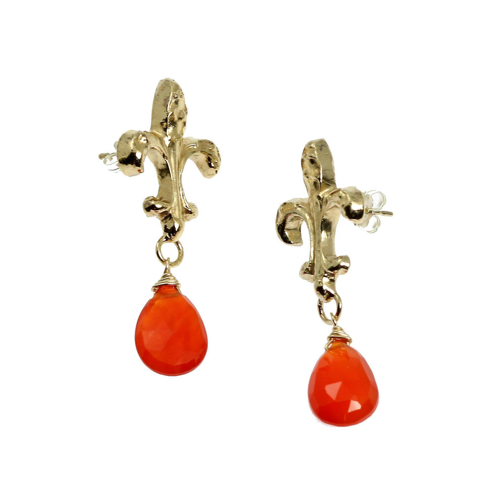 16 CT Carnelian Vermeil Fleur-de-lis Post Earrings - johnsbrana - 3