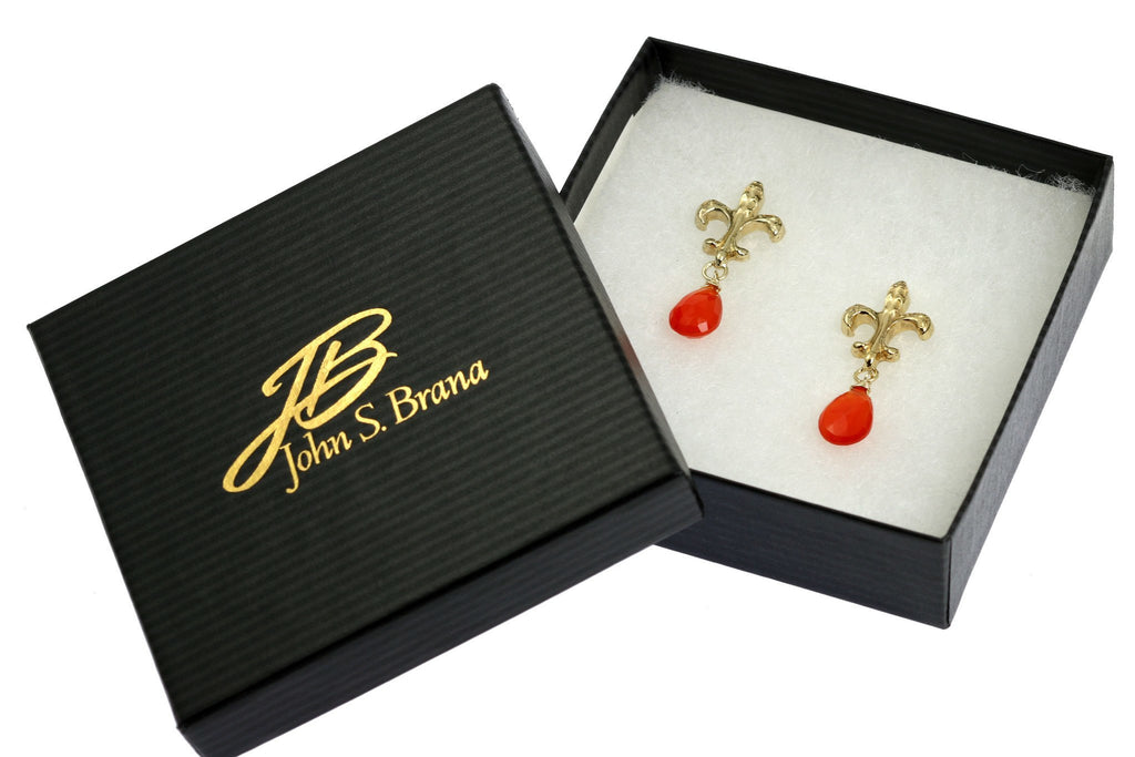 16 CT Carnelian Vermeil Fleur-de-lis Post Earrings - johnsbrana - 4