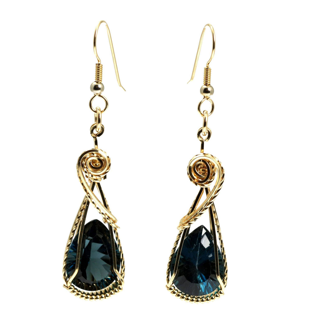 17 CT Cushion Cut London Blue Topaz 14K Gold-filled Earrings - johnsbrana - 3