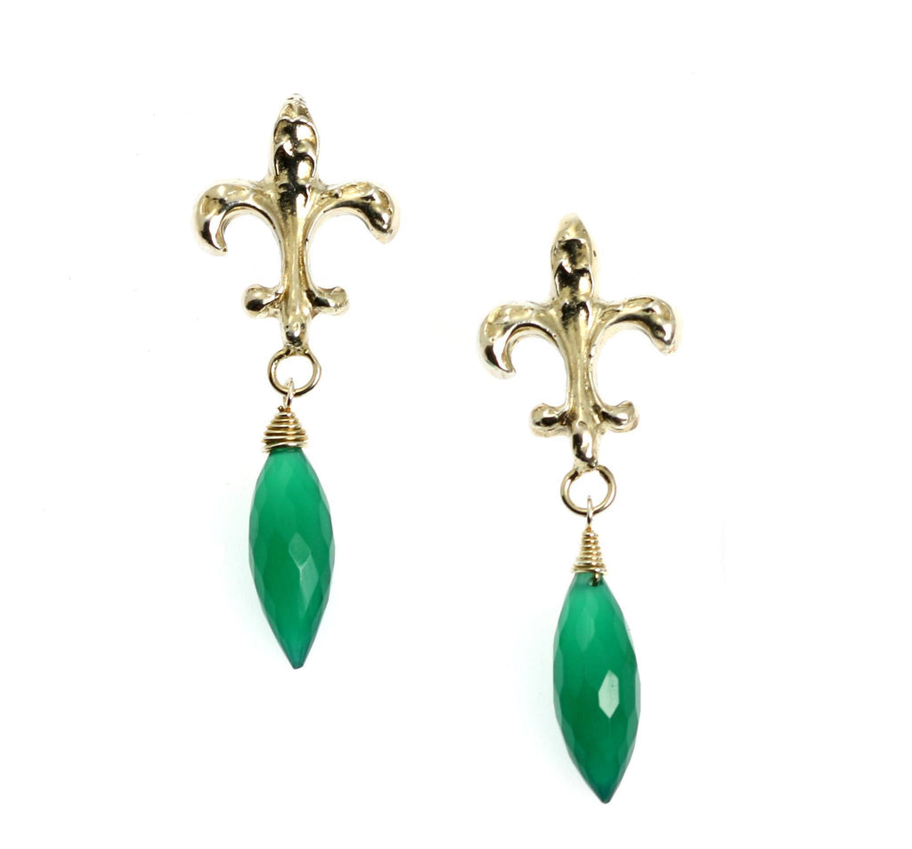 18.5 CT Green Onyx Sterling Silver Fleur-de-lis Earrings - johnsbrana - 1