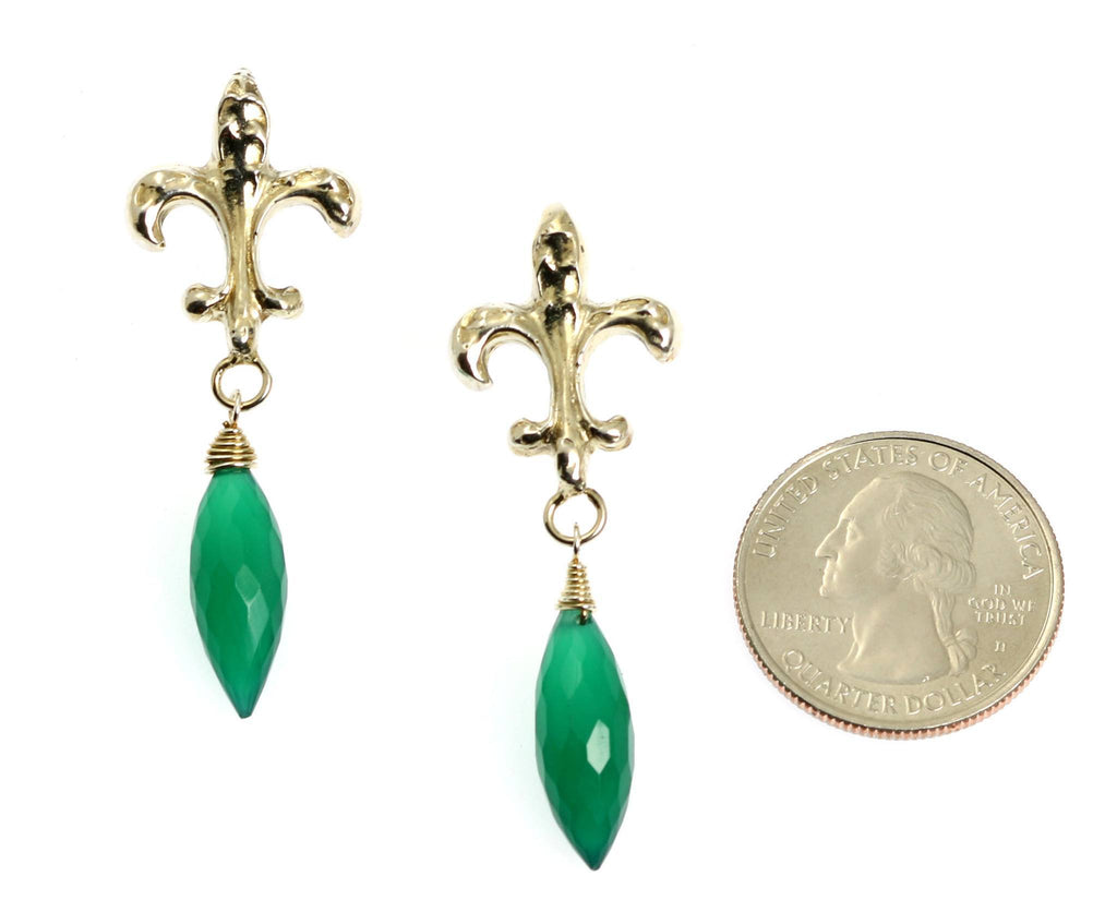 18.5 CT Green Onyx Sterling Silver Fleur-de-lis Earrings - johnsbrana - 2