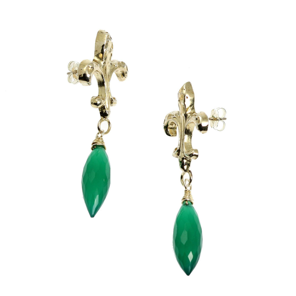 18.5 CT Green Onyx Sterling Silver Fleur-de-lis Earrings - johnsbrana - 3