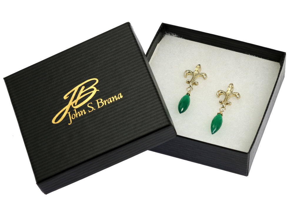 18.5 CT Green Onyx Sterling Silver Fleur-de-lis Earrings - johnsbrana - 4