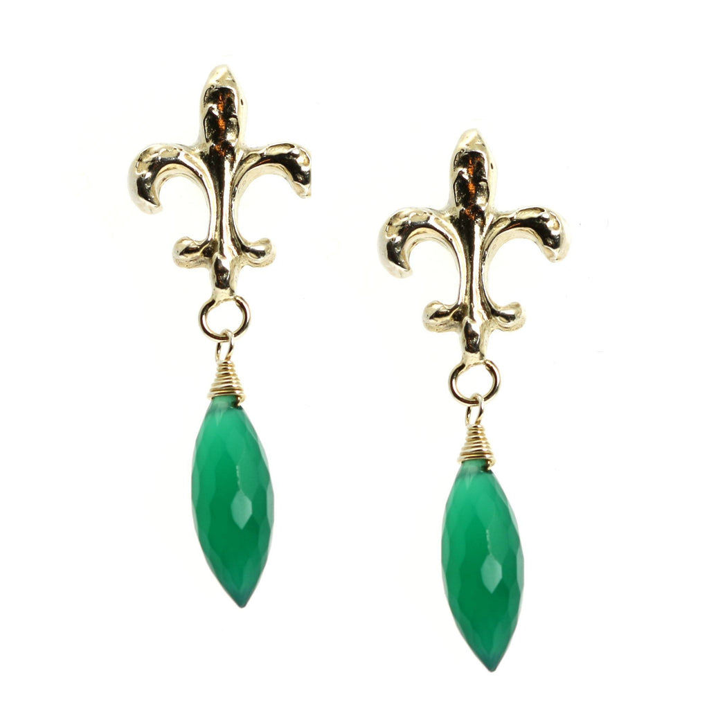 18.5 CT Green Onyx Sterling Silver Fleur-de-lis Earrings - johnsbrana - 5