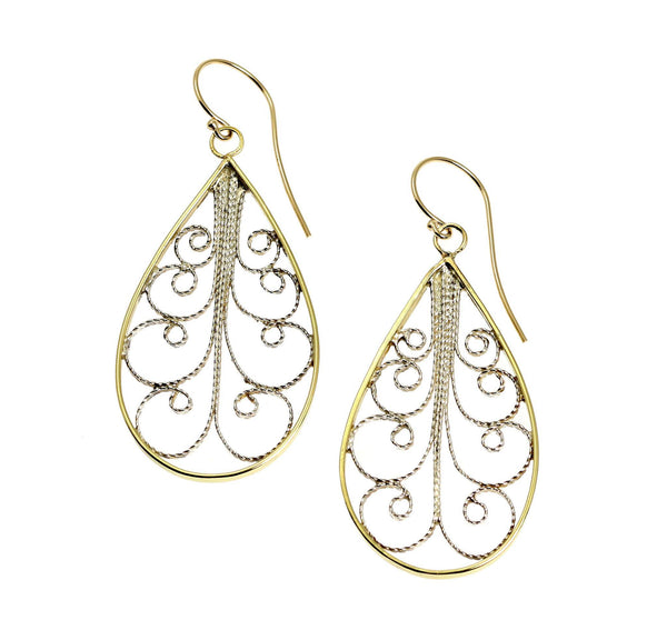 18K Gold Filigree Tear Drop Earrings - johnsbrana - 1