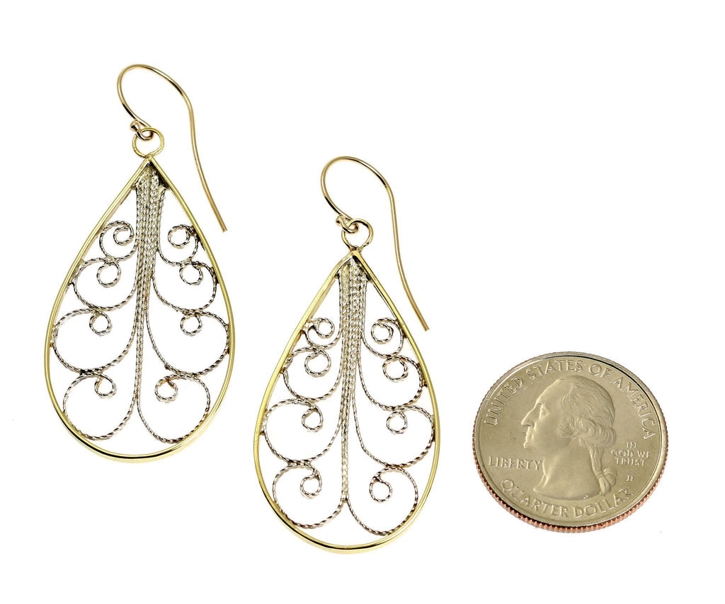 18K Gold Filigree Tear Drop Earrings - johnsbrana - 2