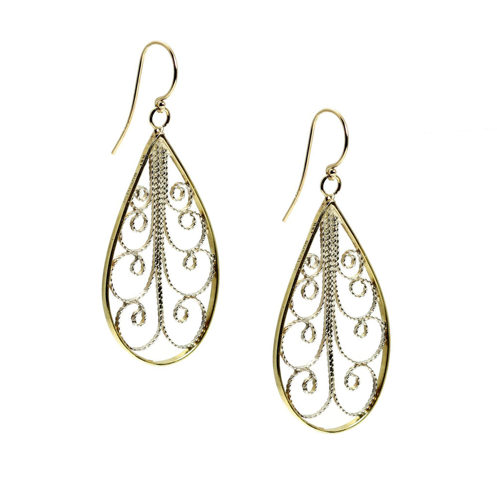 18K Gold Filigree Tear Drop Earrings - johnsbrana - 3