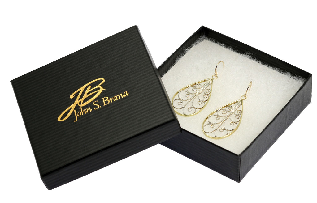 18K Gold Filigree Tear Drop Earrings - johnsbrana - 4