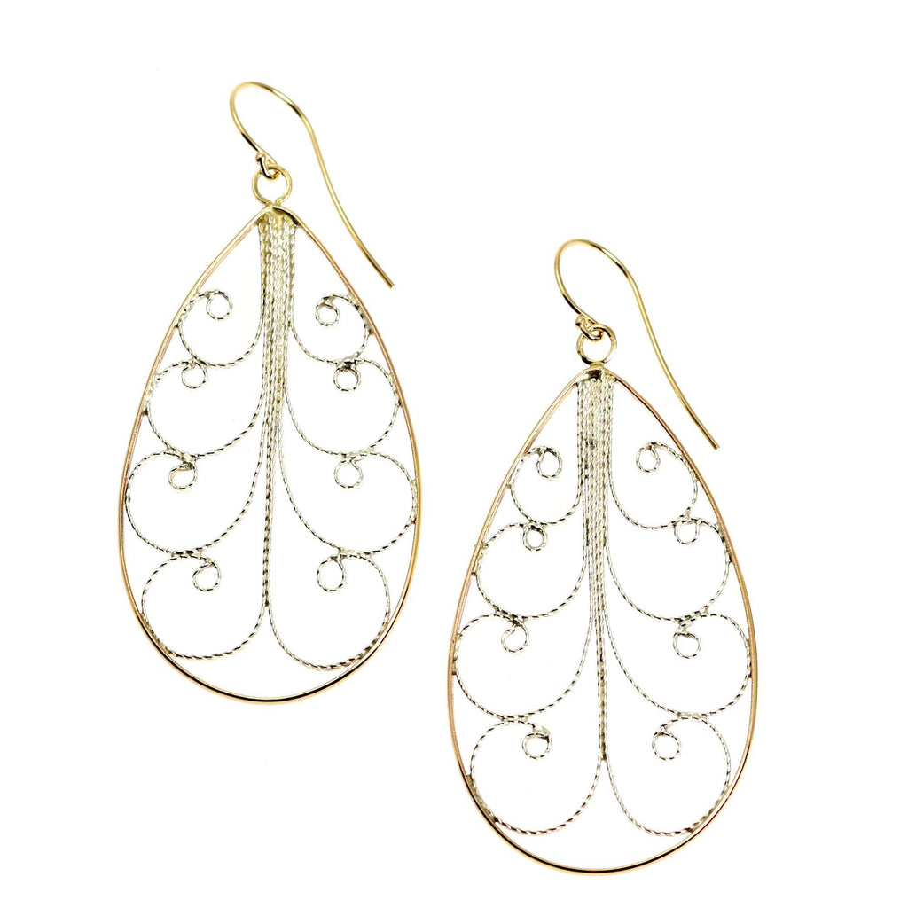 18K Gold Filigree Tear Drop Earrings - Large - johnsbrana - 1