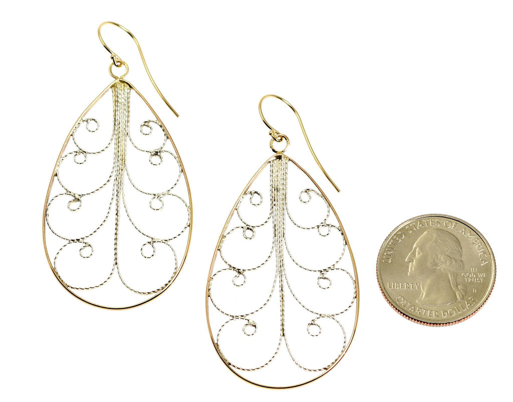 18K Gold Filigree Tear Drop Earrings - Large - johnsbrana - 2