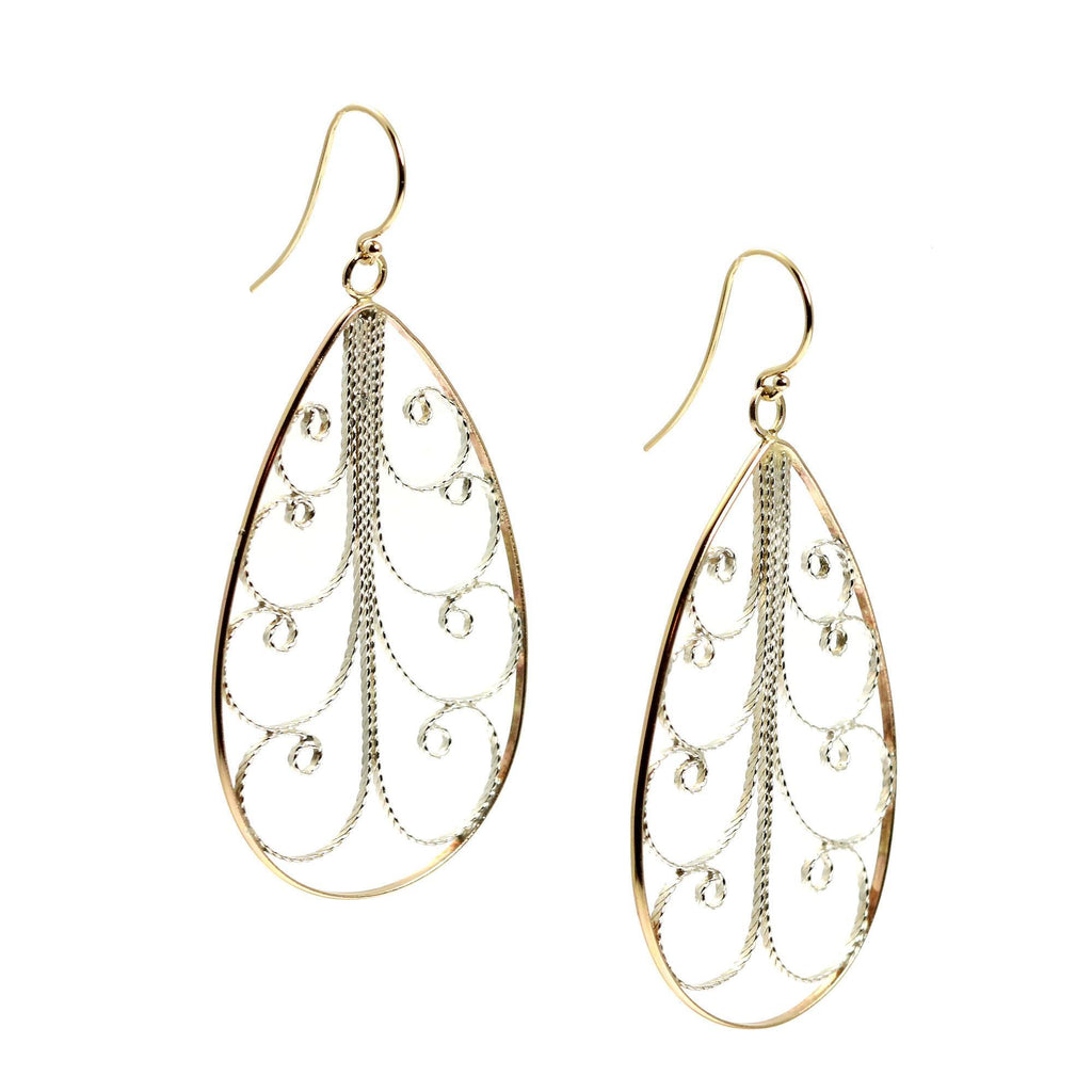 18K Gold Filigree Tear Drop Earrings - Large - johnsbrana - 3