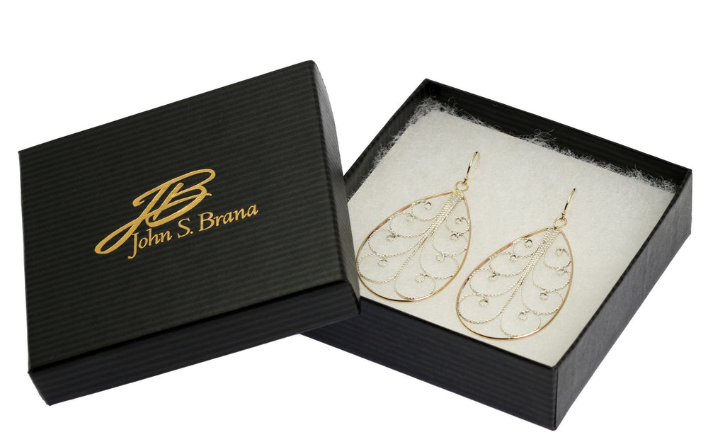 18K Gold Filigree Tear Drop Earrings - Large - johnsbrana - 4
