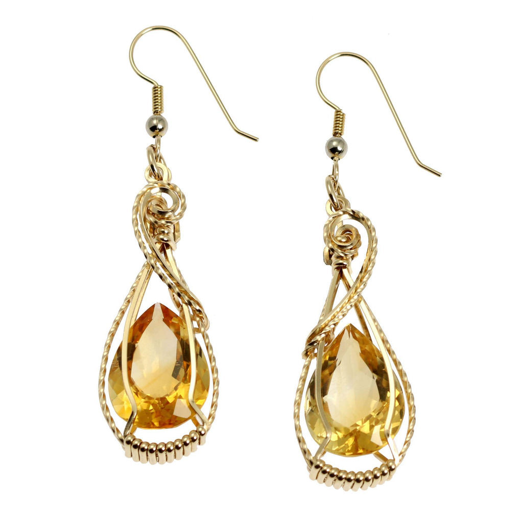 19 CT Cushion Cut Citrine 14K Gold-filled Earrings - johnsbrana - 1